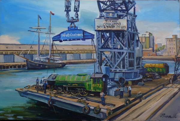 plein air oil painting of the crane Titan unloading the 'Flying Scotsman' at Pyrmont Goods Yard 1988 by industrial heritage artist Jane Bennett