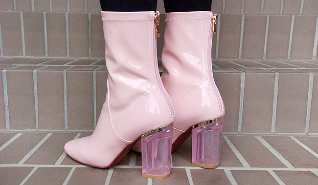 ego shoes, pink boots, transparent heel