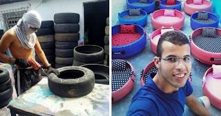 Νεαρός μάστορας χρησιμοποιεί παλιά λάστιχα για να φτιάξει άνετα κρεβατάκια για ζώα