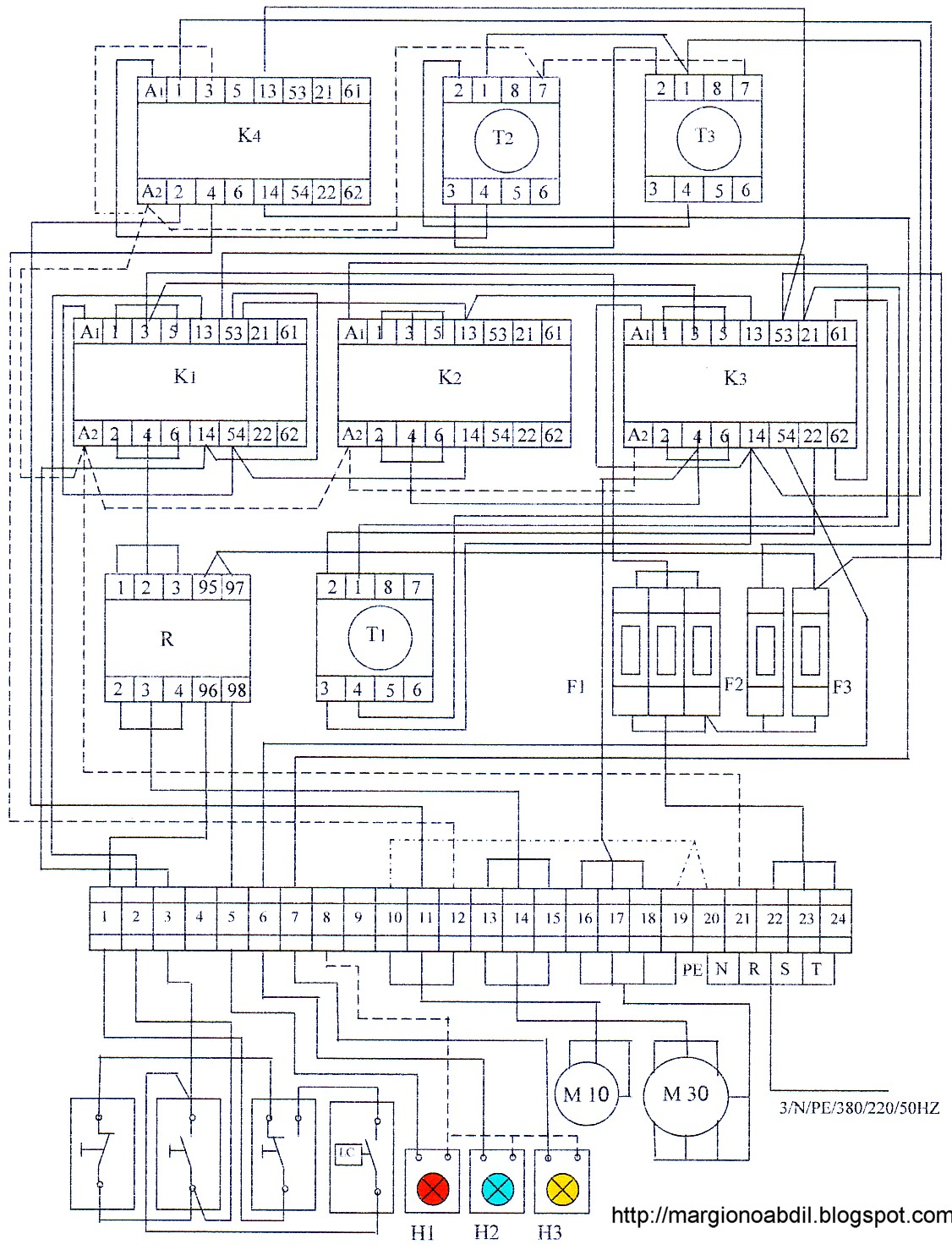 wiring diagram panel pompa 3 phase