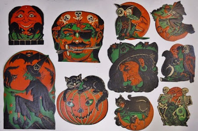 Witches, pumpkins, Jols, skeletons, black cats, owls, pirates, and more from American holidays of yesteryear.