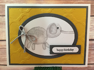 This cute Crushed Curry and Basic Gray Elephant Card could be Birthday, Baby, and more!  It uses Stampin' Up!'s Balloon Builders stamp set.  The greeting is Teeny Tiny wishes.  And, it also uses the Ovals Framelits, Washi Label Punch, Word Window Punch, Thick Smoky Slate Bakers Twine, and the Modern Mosaic Embossing Folder.  www.stampwithjennifer.blogspot.com