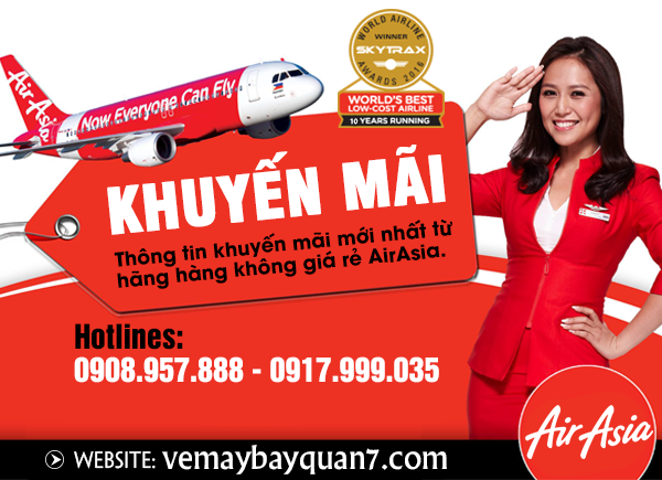 Khuyến mãi giảm 20% giá vé hãng Air Asia