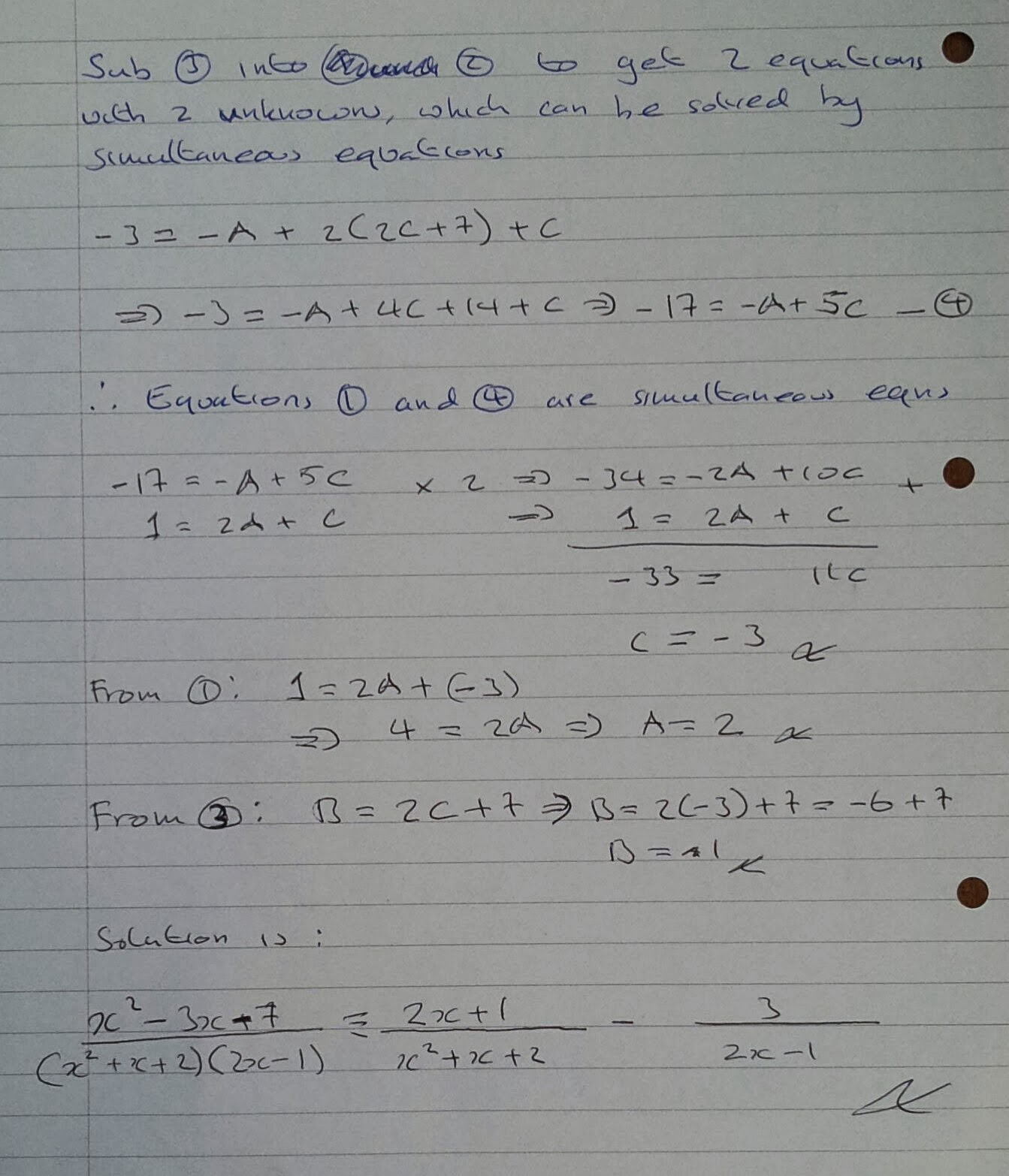 A Level Maths Notes: A2 Partial Fractions: quadratic