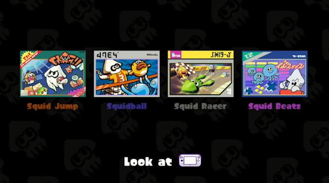 Splatoon Squid Jump Squidball Racer Beatz 8-bit arcade minigames games waiting room lobby