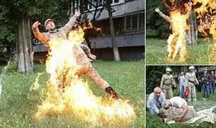 Army set's himself on fire