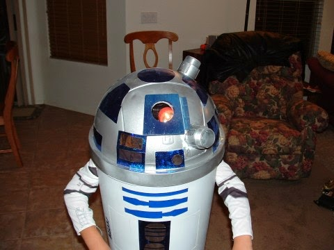 My son in a home-made R2-D2 cosutme | A Constantly Racing Mind