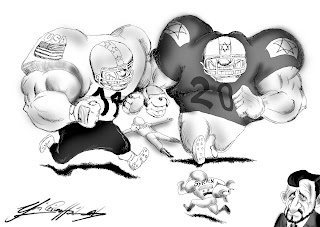 Christian Hildebrandt, Karikatur, Krieg, Frieden, Israel, USA, Libyen, Syrien, Iran, Zionismus