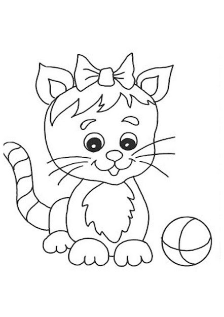 Cute Cat And Butterfly Coloring Pages Disney