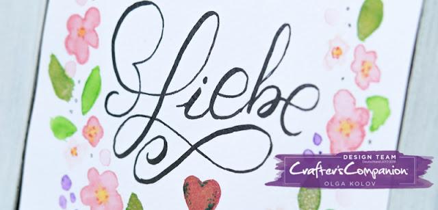 @olgakolov @crafterscompanion #handlettering #aqua #spectrumnoir #sparkles #blooms #liebe #heart