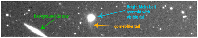 Discovery image of a comet-like activity in bright main-belt asteroid Griseldis taken on the Subaru Telescope on Mauna Kea - Image Credit: Adapted from a figure by D. Tholen, S. Sheppard, C. Trujillo - original image.