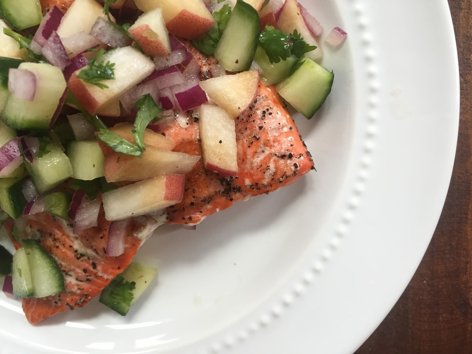 grilled salmon w/ white peach & cucumber salsa