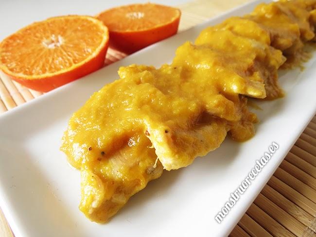 Pollo con salsa de mandarina