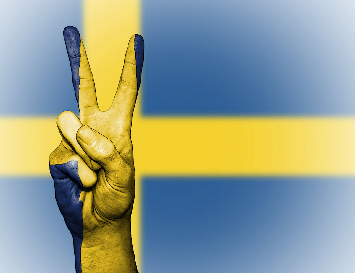 Sweden flag, 2-finger peace sign
