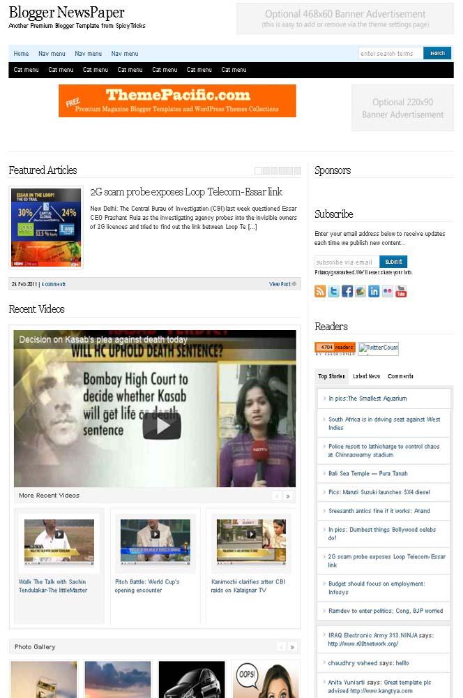 Blogger NewsPaper- Best Blogger Template Download