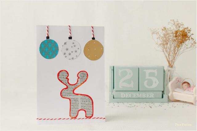 postal-navidad-diy-materiales-reciclados-reno-papel-periodico
