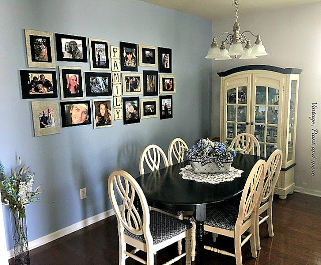 Vintage, Paint and more... a dining room updated with black chalk paint, vintage looking fabric and a gallery wall to become a vintage showcase