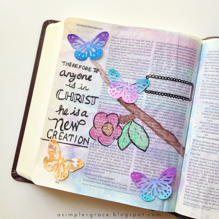 II Corinthians 5:17 | Bible Journaling - A Simpler Grace #illustratedfaith