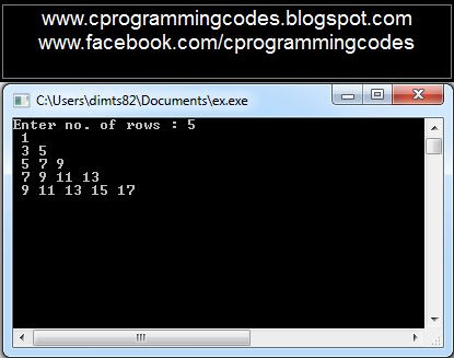 output for odd number pyramid C program
