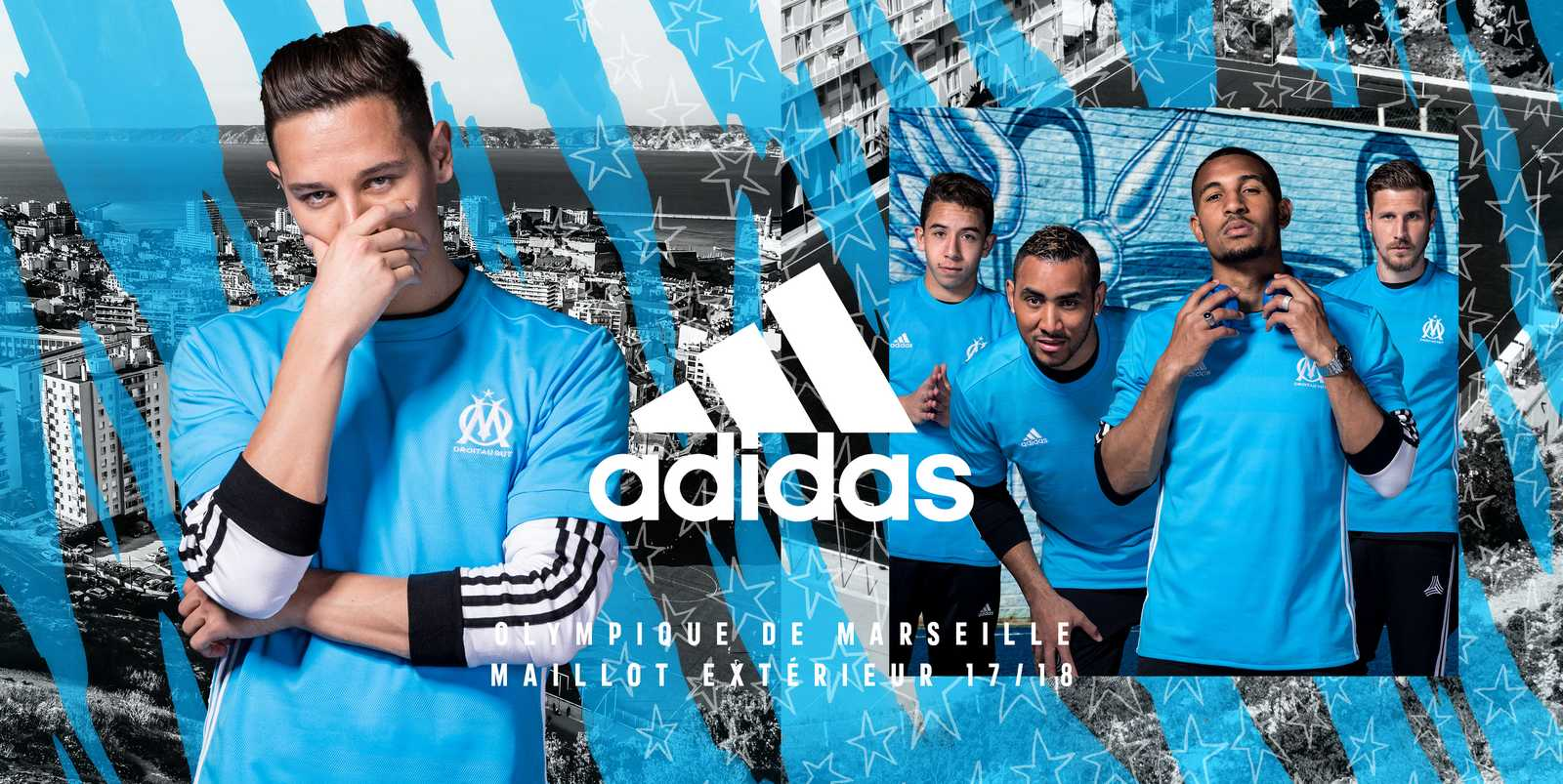 Olympique marseille 17 18 away kit released footy headlines for Decoration chambre olympique de marseille