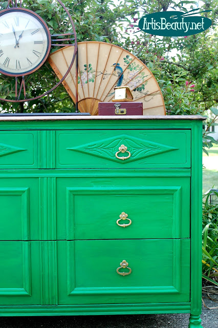 eclectic emerald green roadside rescued dresser before and after makeover veneer removal repair diy