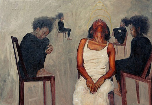 """Providential Reception"" by Florence Wangui - oil on canvas 