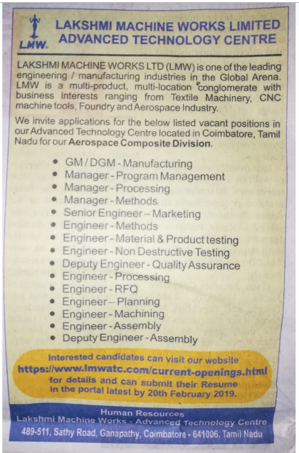 JOB WANTED FOR LAKSHMI MACHINE WORKS LIMITED IN COIMBATORE