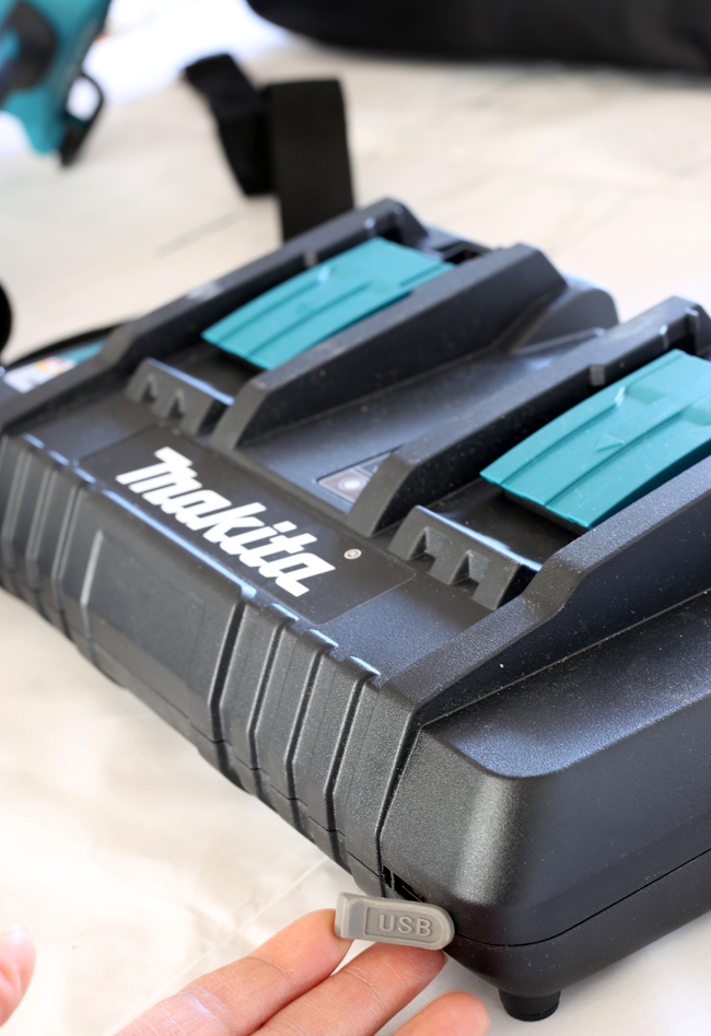 Makita battery charger with a USB port