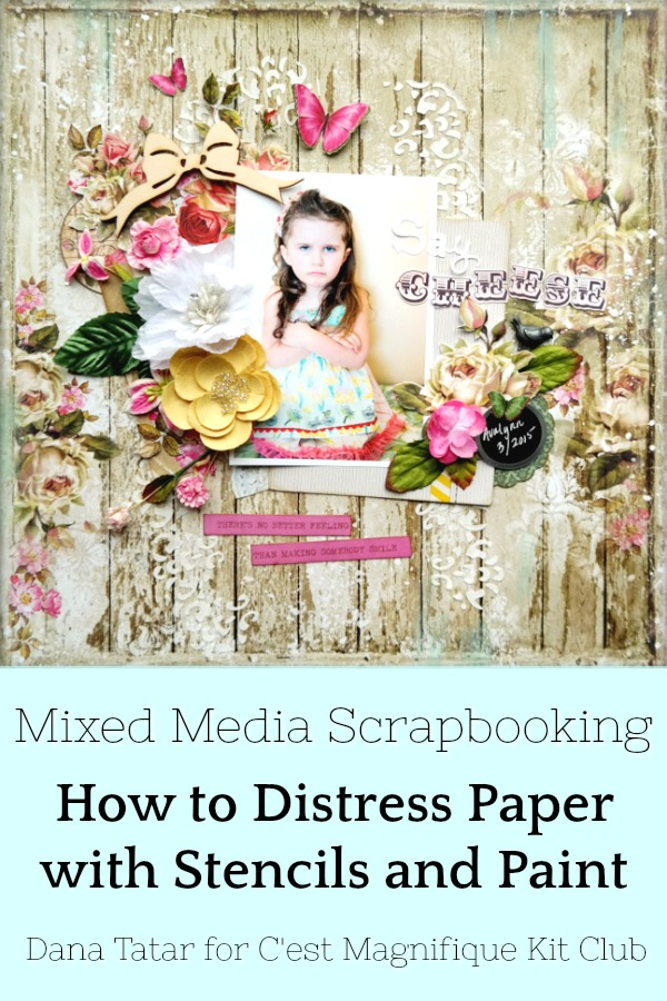 How to Distress Patterned Paper with Stencils and Paint