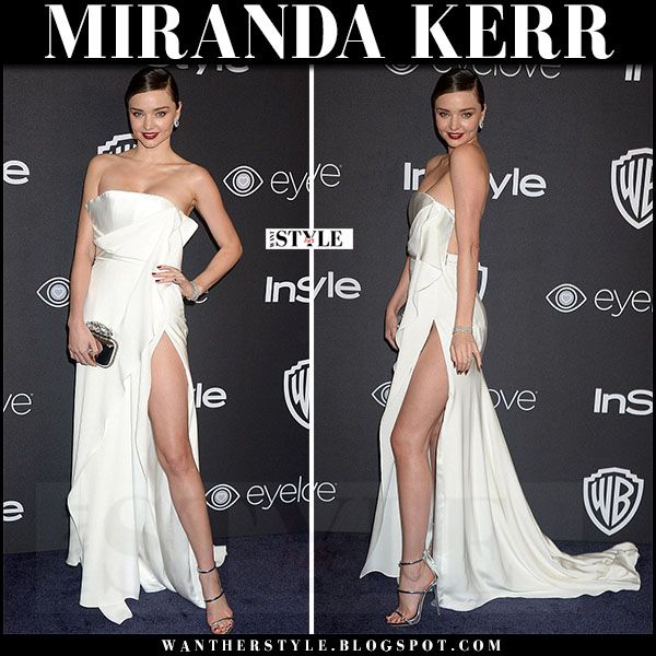 Miranda Kerr in white strapless gown august getty and silver sandals giuseppe zanotti harmony what she wore golden globes 2017