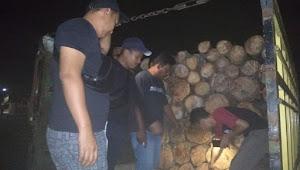 Polisi Amankan 2 Truk Berisi Kayu Alam, Pelaku dan pemilik Coba Mengelabui Petugas