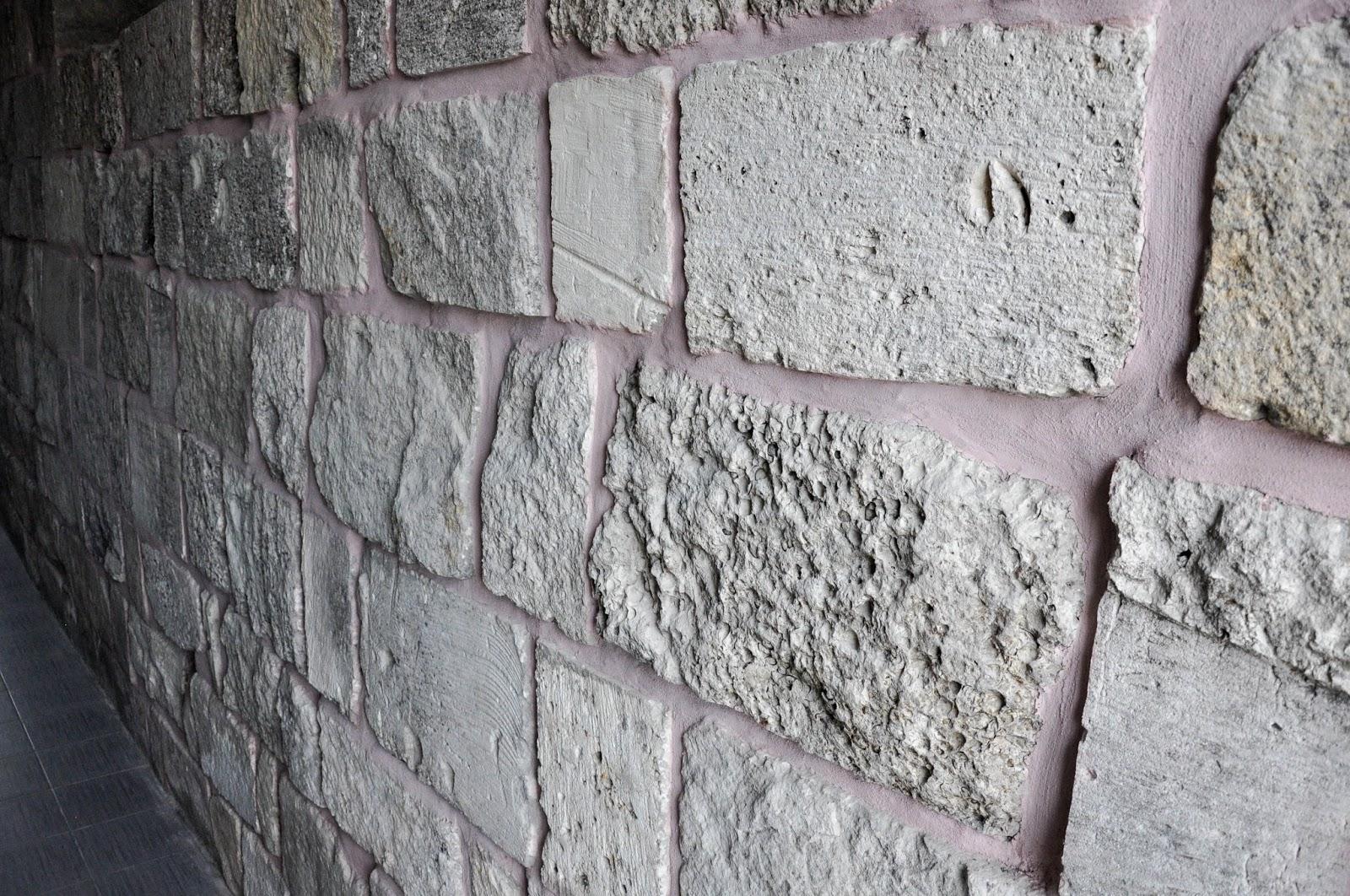 The wall with its distinctive pink mortar, The Museum, Pliska, Bulgaria