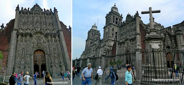 Detalhes da fachada da Catedral da Cidade do México
