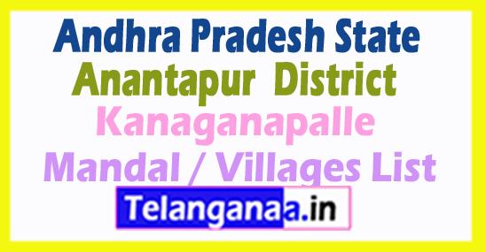 Kanaganapalle Mandal Villages Codes Anantapur District Andhra Pradesh State India