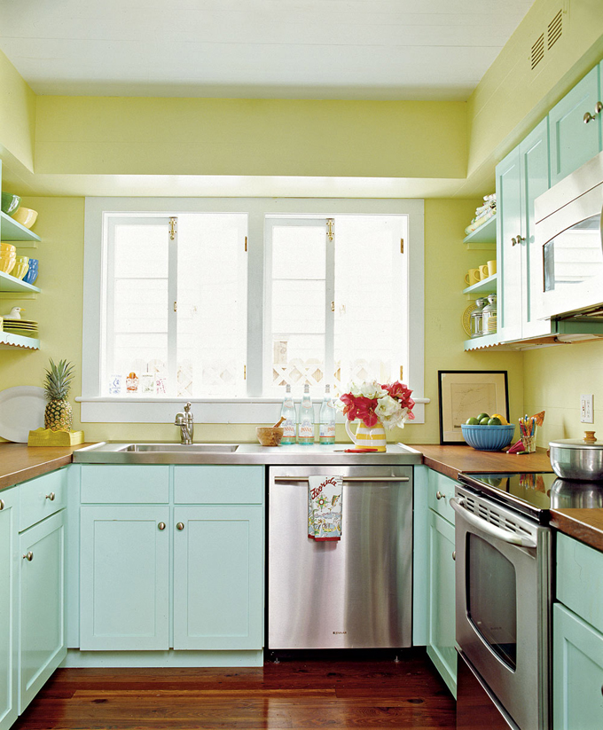 Aqua Blue Kitchen Colors For Wall With White Cabinets