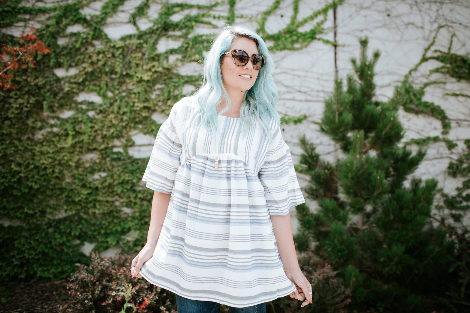 Tunic, Michael Kors, Blue Hair