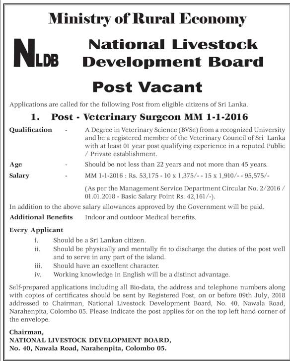 Vacancy at National LiveStock Development Board