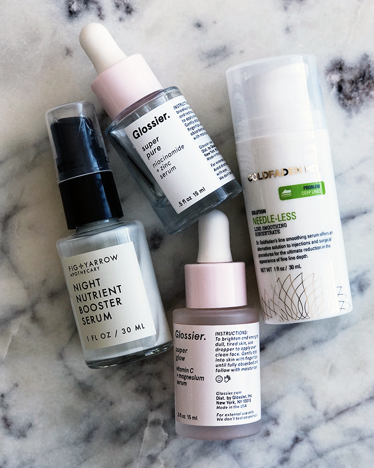 Ultimate nighttime skincare routine @heleneisfor: Glossier Super Pure serum, Fig & Yarrow Night Nutrient Booster Serum, Glossier Super Glow Serum, Goldfaden MD Needle-Less Line Smoothing Concentrate Hyaluronic acid