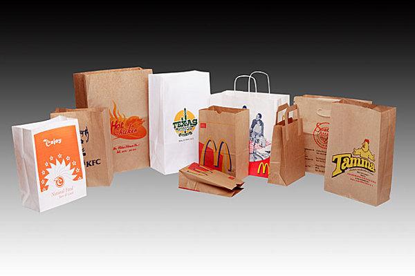 Các nhãn hàng thực phẩm in túi giấy lớn