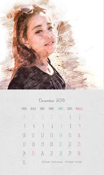 Desain Kalender Indonesia 2018 - Desember