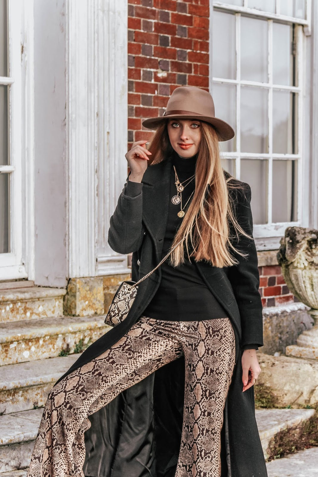 Fashion Blog How to Style Snakeskin Flared Trousers