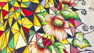 Esempio di tessuto dipinto a mano con pennarelli indelebili