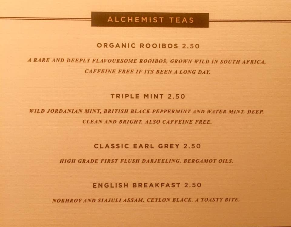 The Alchemist Newcastle | Breakfast Menu Review | Tea menu