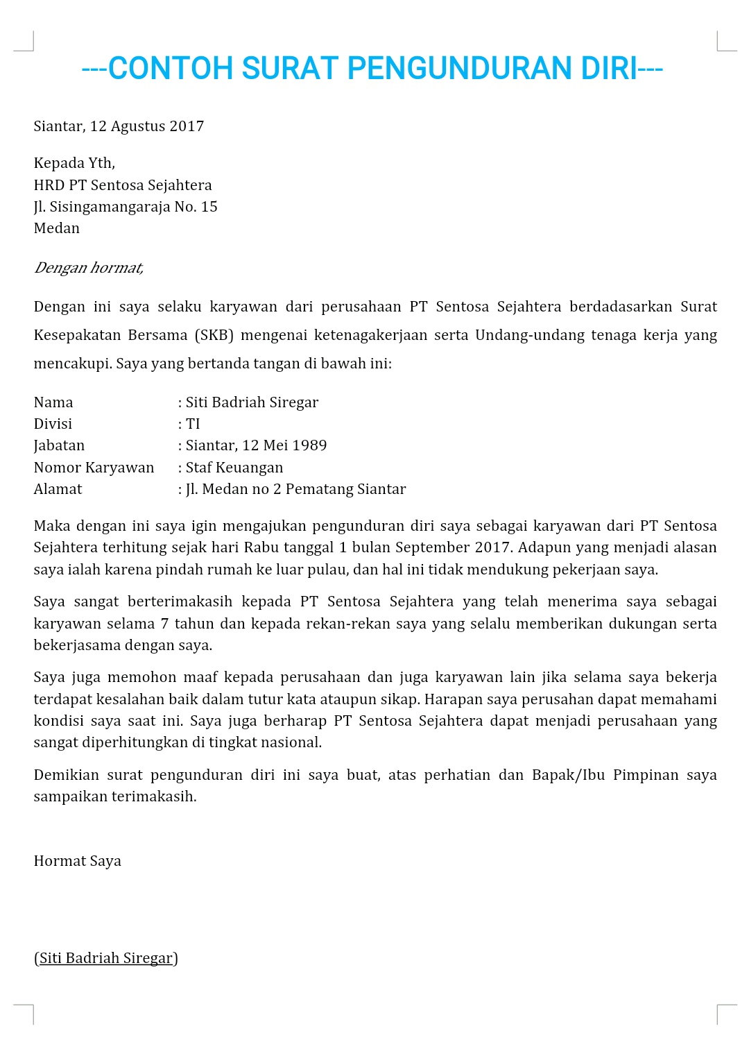 Cara Membuat Surat Pengunduran Diri Suka Bahasa Indonesia