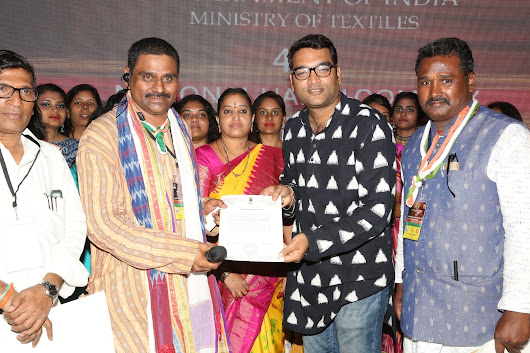 Receiving award and Letter National Handloom Day