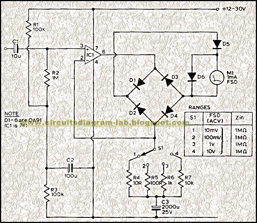 Audio Milli Volt Meter Circuit Diagram