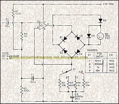simple audio milli volt meter circuit diagram