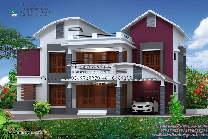 Mixed roof 5 Bed Rooms House Design