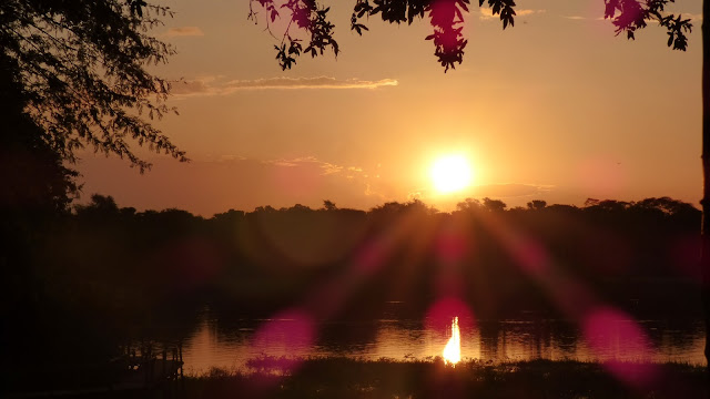 A sunset view over the Shire River from Mvuu Lodge, Liwonde National Park