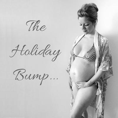 Arthurwears black and white pregnancy bikini and kimono - the holiday bump